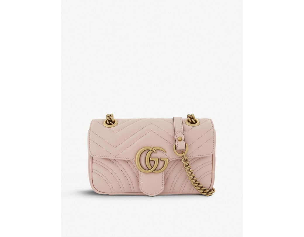 1ff79ea3a92 Lyst - Gucci Women s Pink Zigzag Marmont GG Mini Leather Cross-body Bag in  Pink