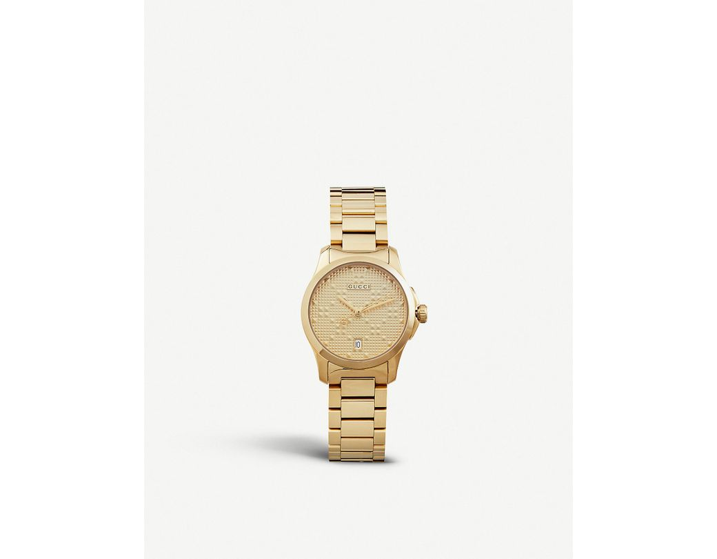 0d829f58f6b Lyst - Gucci Ya126553 G Timeless Gold-plated Stainless Steel Watch in  Metallic
