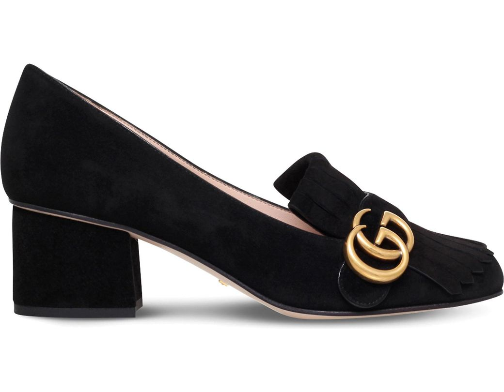 387ee85a9fb Lyst - Gucci Marmont Leather Pumps in Purple - Save 84%