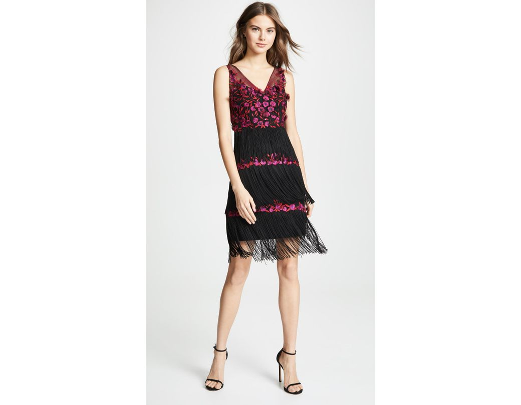 a528f314b200 Marchesa notte Floral Embroidered Fringed Dress in Black - Save 76% - Lyst