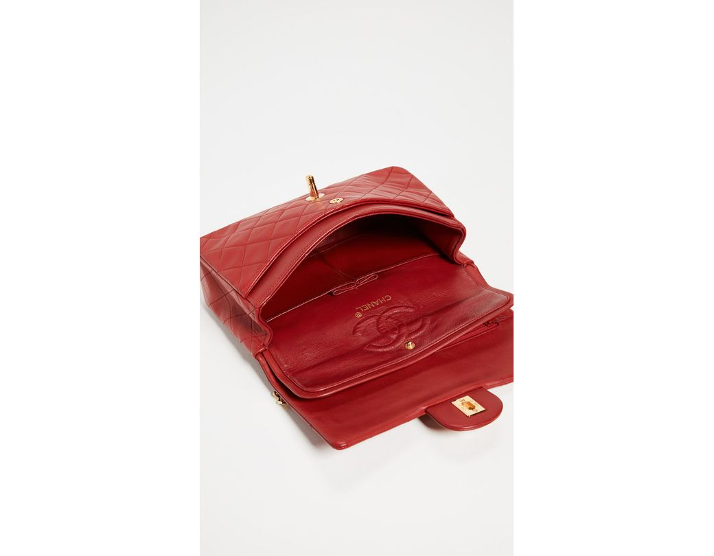 137d22d7425f What Goes Around Comes Around Chanel Red Lambskin Classic Flap Bag in Red -  Save 30% - Lyst
