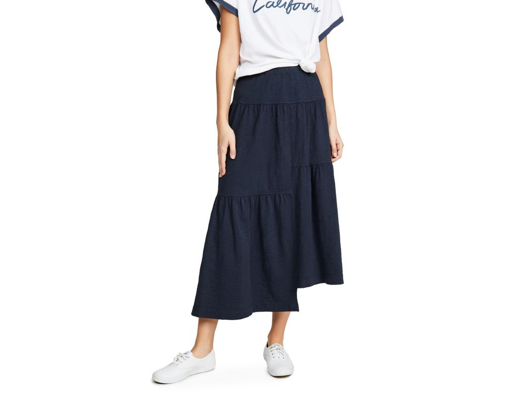 75bae314a Wilt Long Tiered Skirt in Blue - Lyst