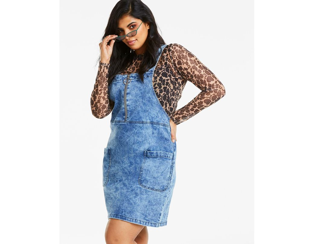 best cheap rich and magnificent official images Lyst - Simply Be Zip Front Denim Pinafore Dress in Blue ...