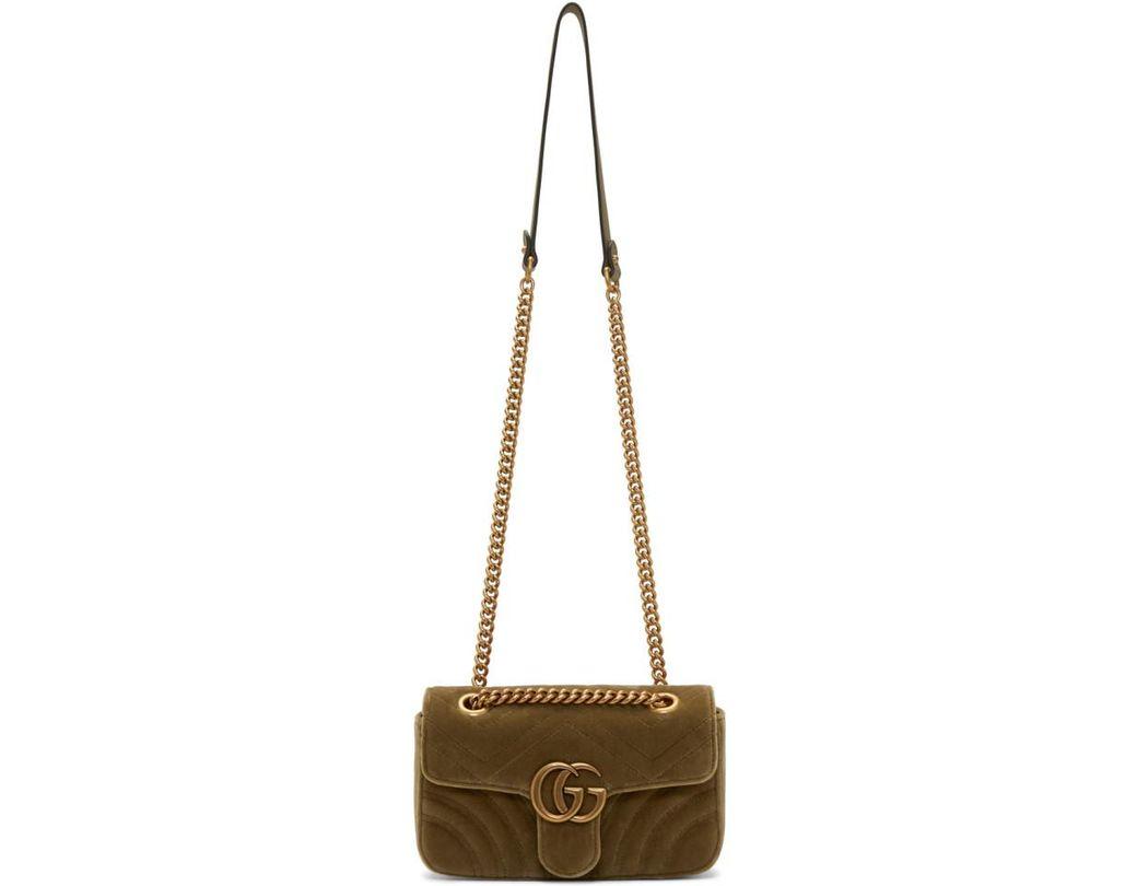 83a2e85f06a Lyst - Gucci Tan Velvet Mini GG Marmont 2.0 Bag in Brown