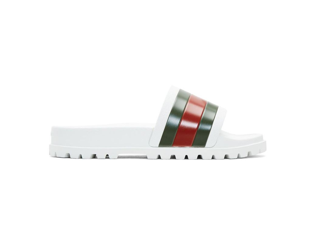 26ee0a4ce08 Lyst - Gucci Web Slide Sandal in White for Men - Save 22%