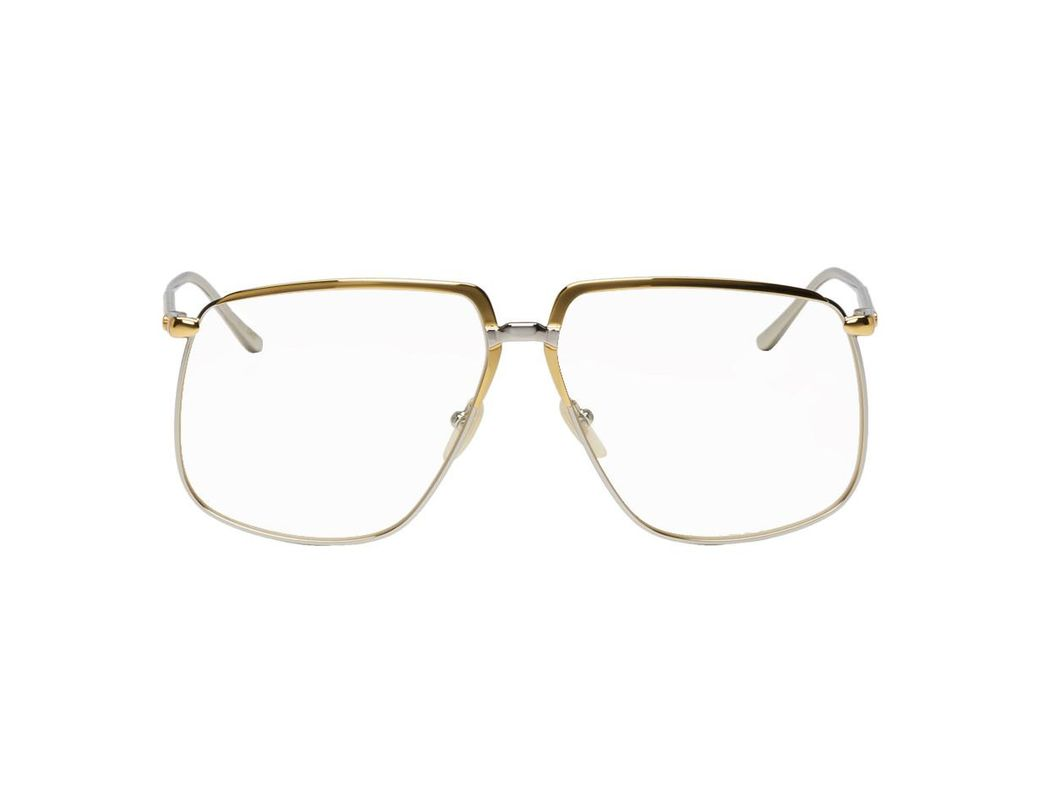 c525c807267 Lyst - Gucci Gold And Silver Metal 80s Glasses in Metallic for Men