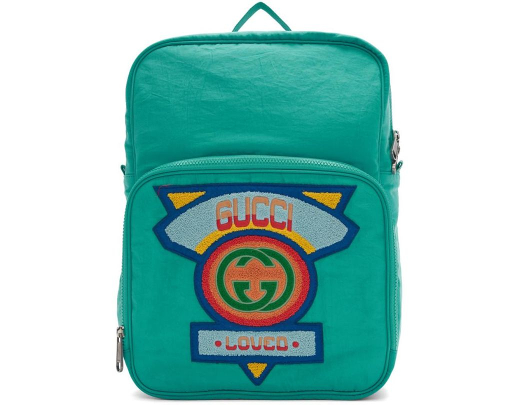 010de5119be Lyst - Gucci Medium Backpack With  80s Patch in Blue for Men - Save 9%