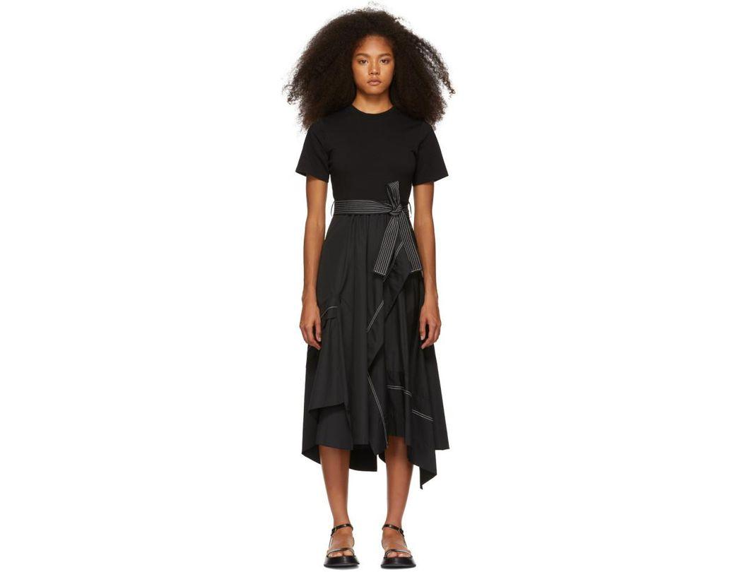 4fd23c97797f04 3.1 Phillip Lim Black Poplin Combo T-shirt Dress in Black - Lyst