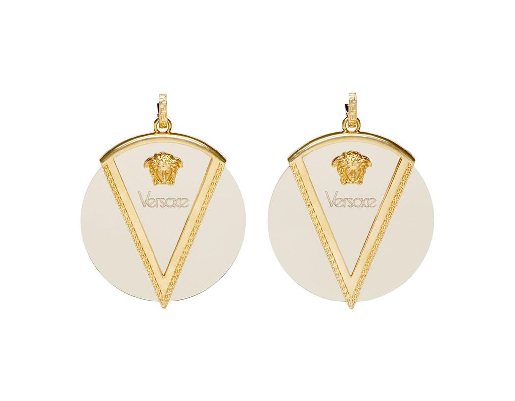 37f0c6de90809e Versace Gold And Transparent Yalos V Medusa Earrings in Metallic ...