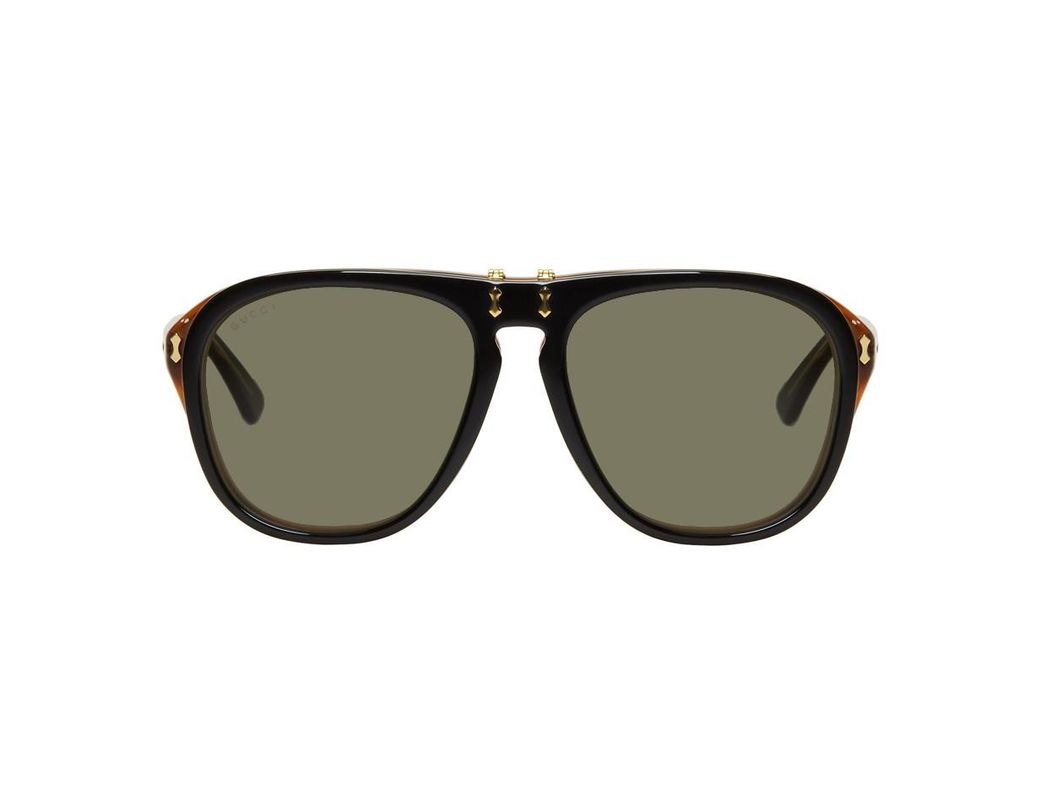 c3414394439 Lyst - Gucci Black And Tortoiseshell Flip-up Pilot Sunglasses in ...