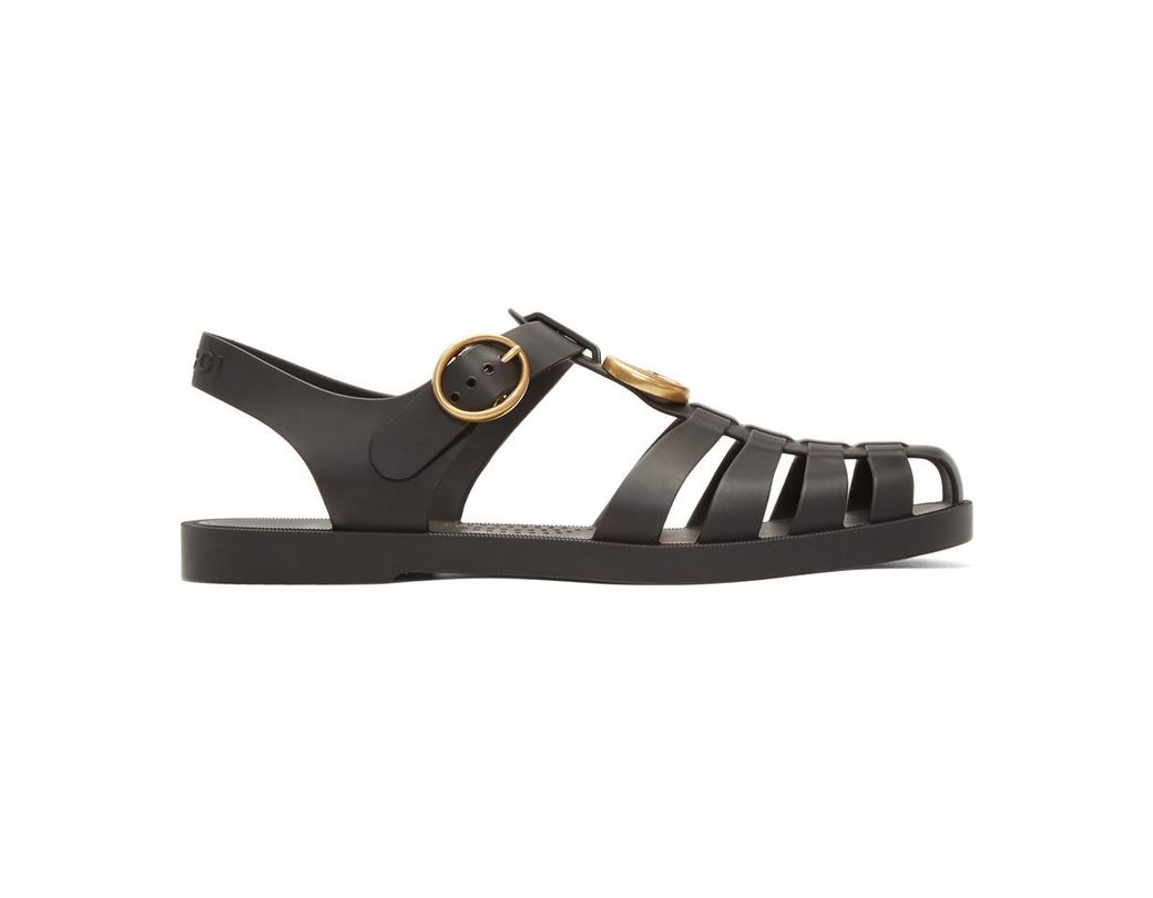 9dd26fd6006 Lyst - Gucci Black Glossy Rubber Sandals in Black for Men - Save 6%