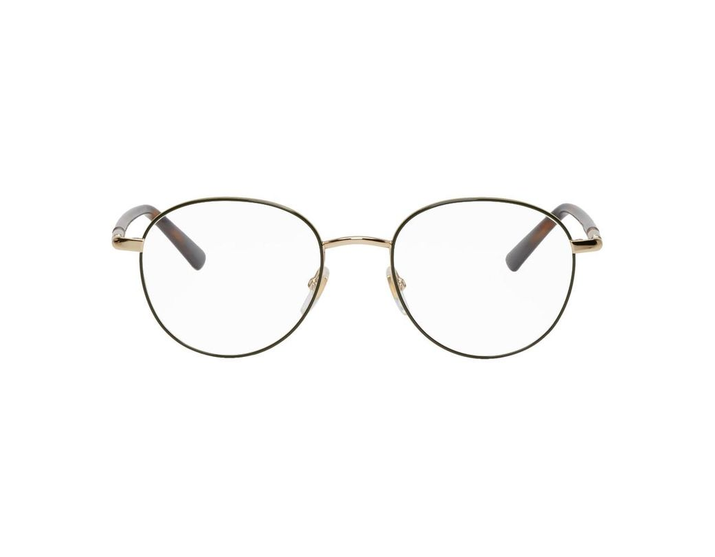 60e34149161 Gucci. Women s Gold And Green Round Outline Glasses