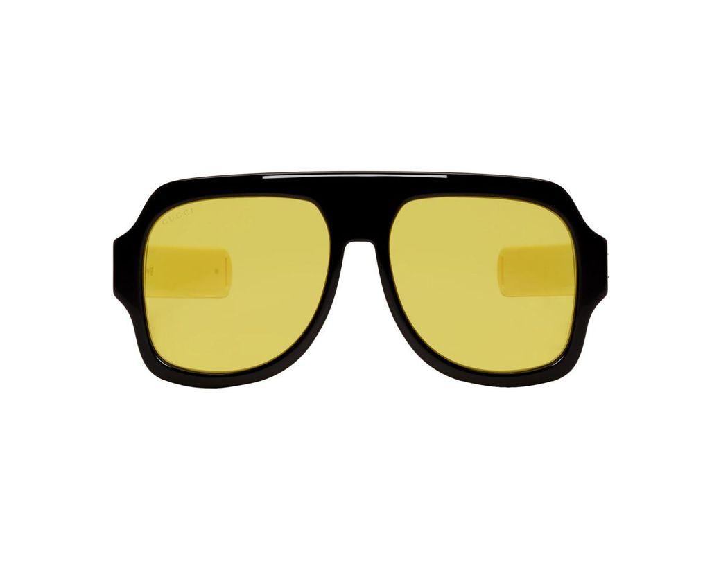 a6ec090e667 Lyst - Gucci Black And Yellow Sport Sunglasses for Men