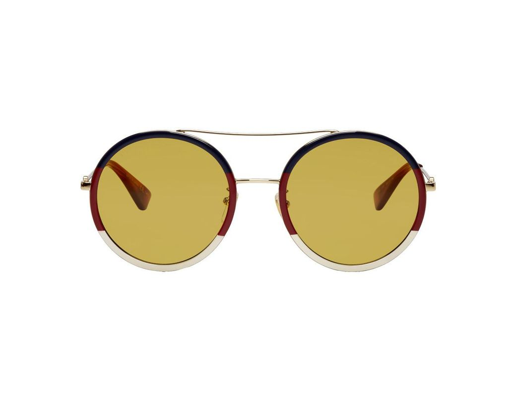 64069ea6bf7 Lyst - Gucci Multicolor Web Block Pilot Sunglasses in Brown for Men