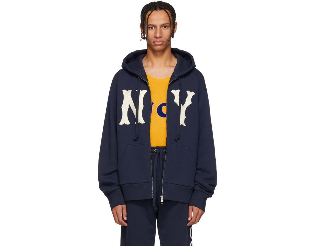 9e77cb887d4 Lyst - Gucci Navy Ny Yankees Edition Patch Zip Hoodie in Blue for Men