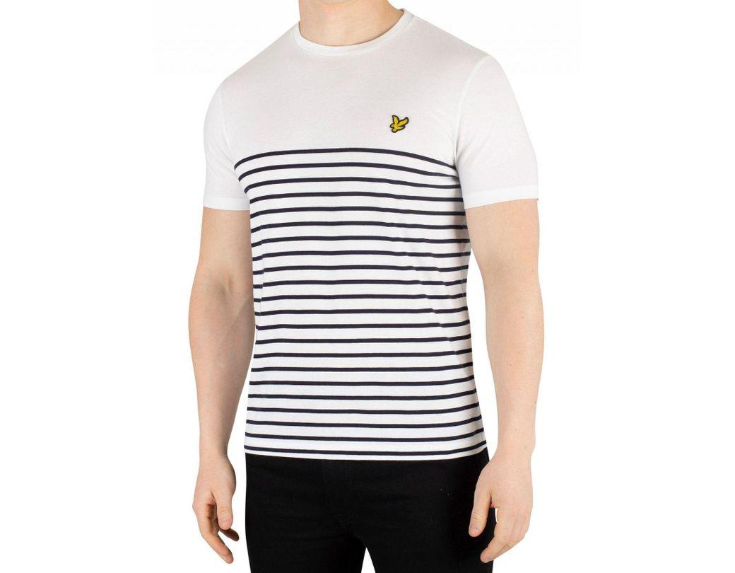 179b23ead Lyle & Scott White/navy Breton Stripe T-shirt in White for Men - Lyst
