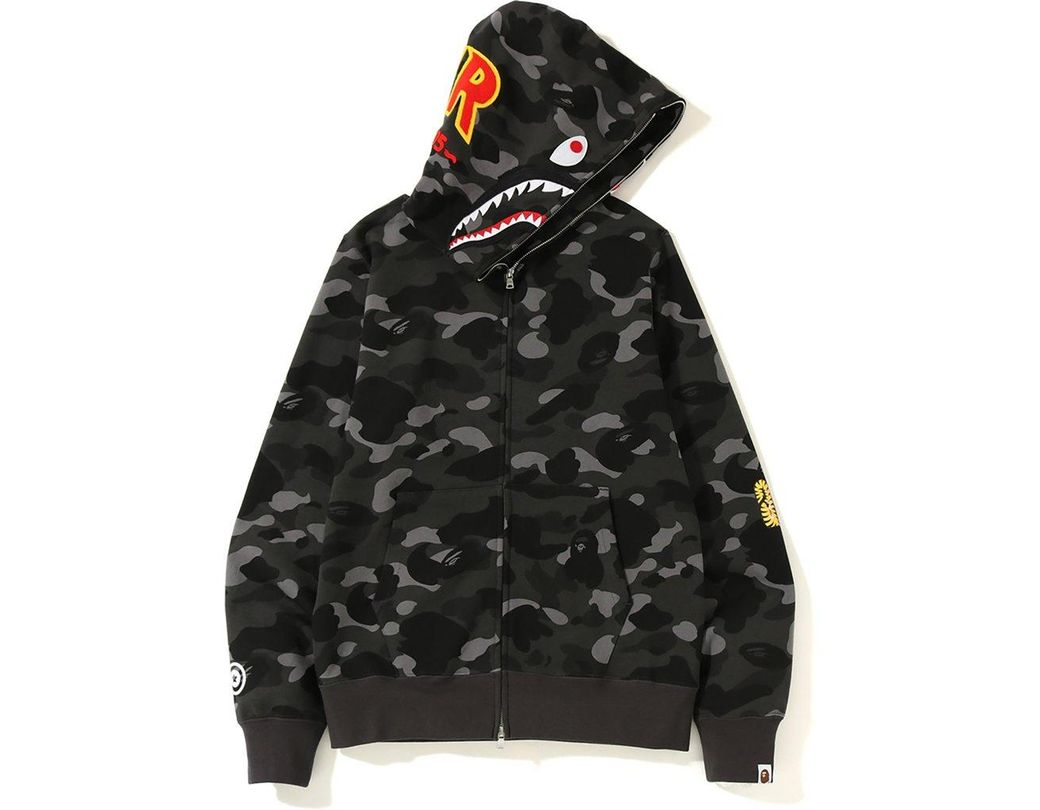 83ed1511 Lyst - A Bathing Ape Color Camo 2nd Shark Full Zip Hoodie Black in ...