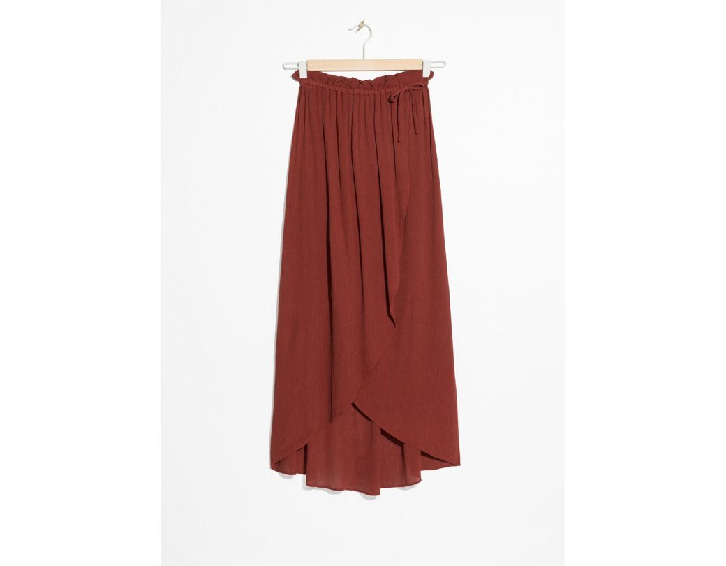 e9453681f79a8a & Other Stories Paperbag Waist Wrap Skirt in Red - Lyst
