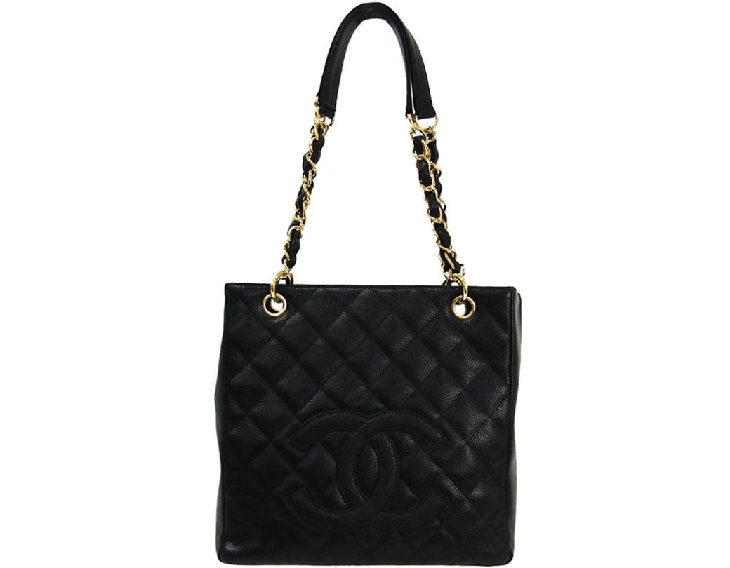 39723e4d7bb38d Lyst - Chanel Black Quilted Caviar Petite Shopping Tote in Black ...
