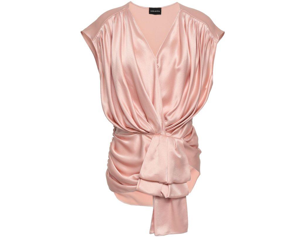 b60fb2a933267 Magda Butrym. Women's Woman Wrap-effect Silk-satin Crepe Top Pastel Pink