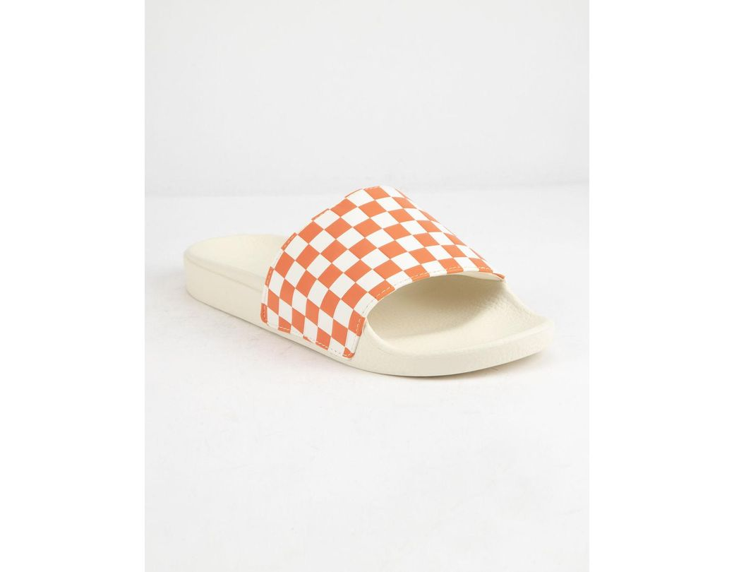 7e6b1686cc4c Lyst - Vans Checkered Rust Womens Slide Sandals - Save 59%