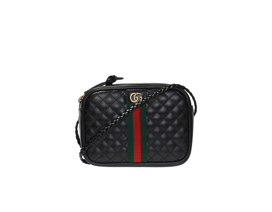 e2f501083704 Lyst - Gucci Black Quilted-leather Small Shoulder Bag in Black ...