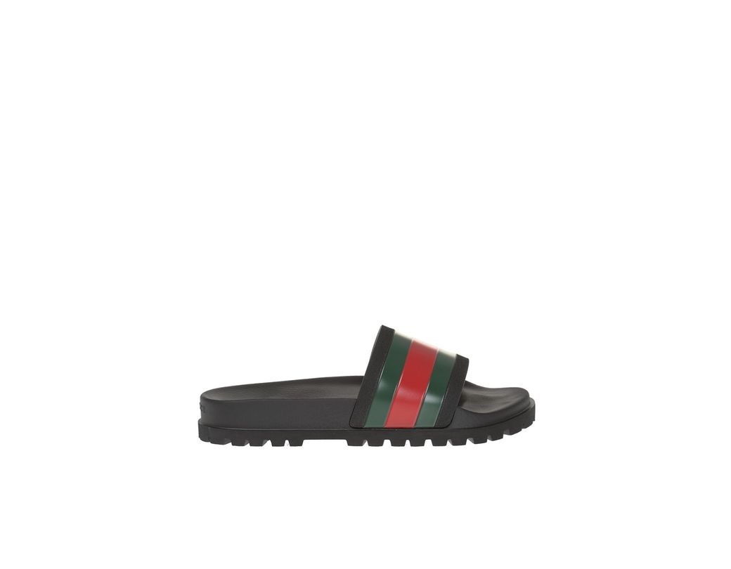 4f4a60ef208 Lyst - Gucci Striped Web Rubber Slides in Black for Men - Save 30%