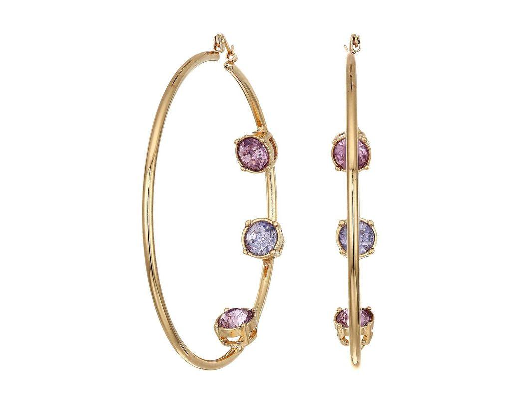 768d015399f2b6 Lyst - Steve Madden Rhinestone Inside Stud Design Hoop Earrings ...