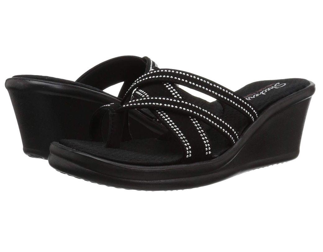 3d842aa63a02 Skechers. Women s Black Rumblers-cali Spell-studded Multi Strap Slide With  ...