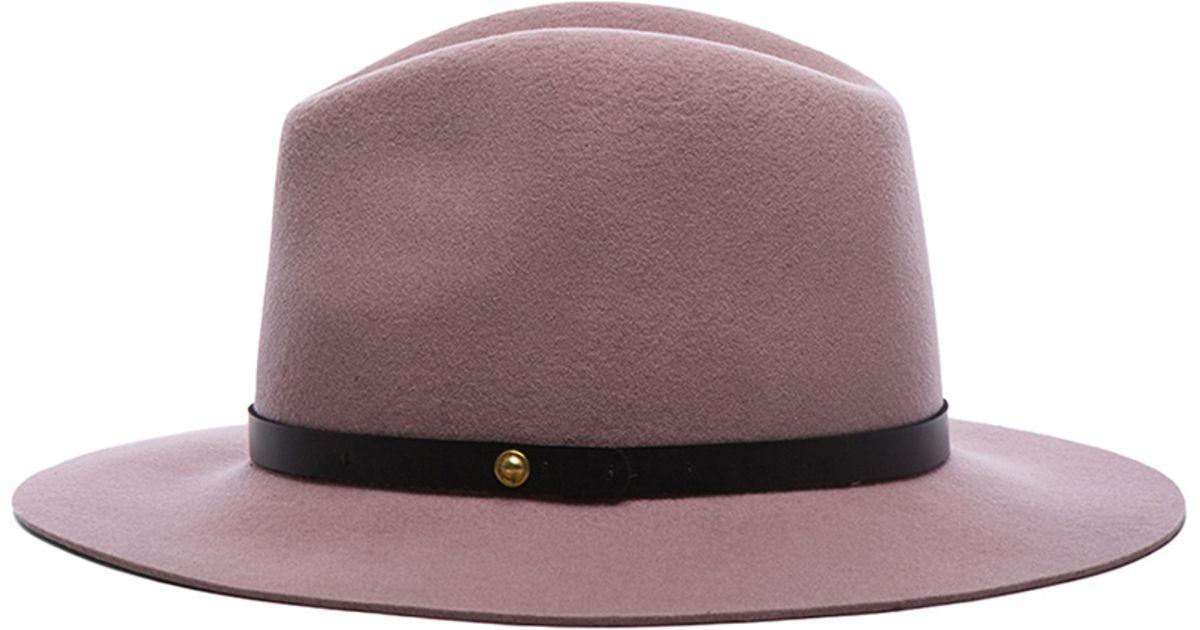 dd8975fc5cc6a Rag   Bone Dusty Rose Floppy Brim Fedora in Pink - Lyst