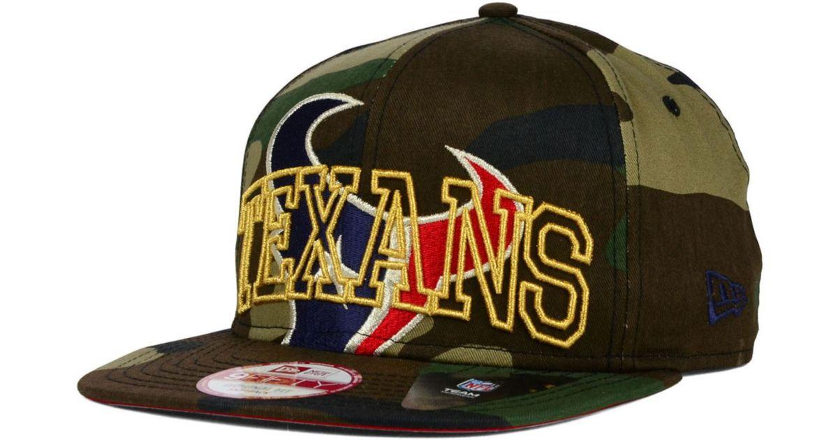 check out 8f307 370ba Lyst - KTZ Houston Texans Metallic Cue Original Fit Snapback Cap in Green  for Men