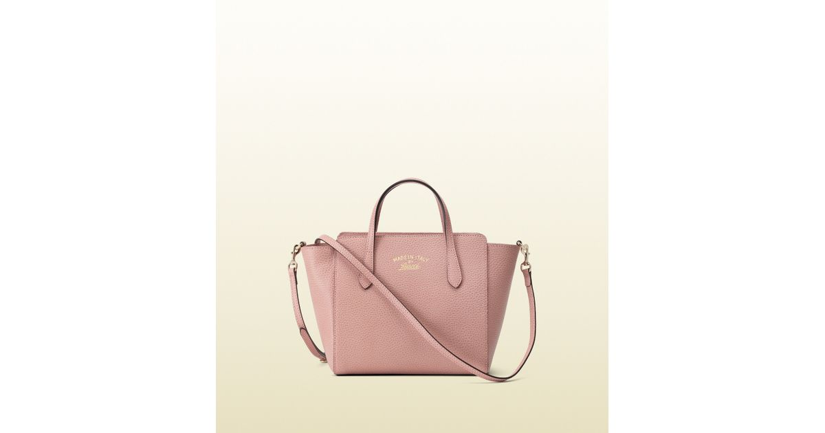 6e357eb48fc Gucci Swing Mini Leather Top Handle Bag in Pink - Lyst