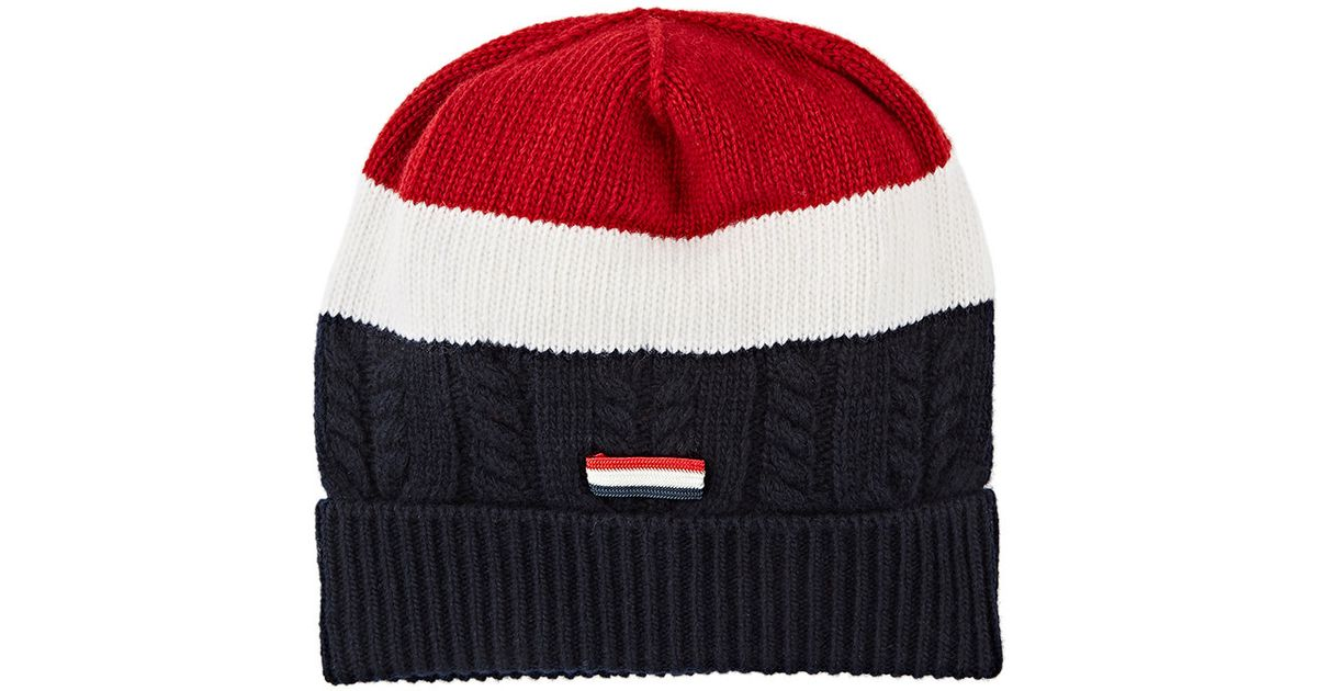 ebea5d51f89 Lyst - Moncler Gamme Bleu Striped Beanie in Red for Men