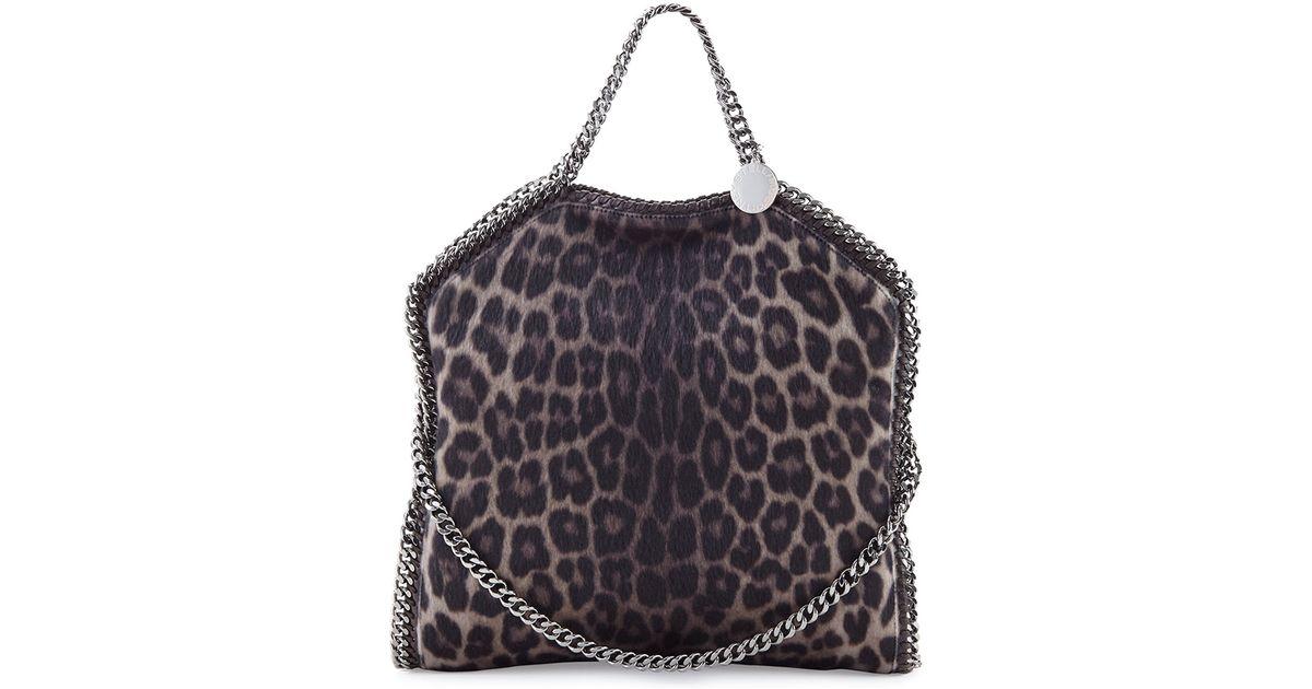 4705d1910d77 Lyst - Stella McCartney Falabella Leopard-print Flap Shoulder Bag