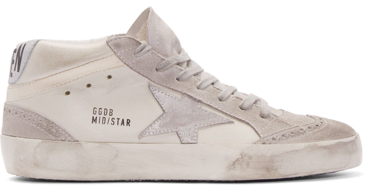 Golden Goose Deluxe Brand Mid Star Sneakers In White For