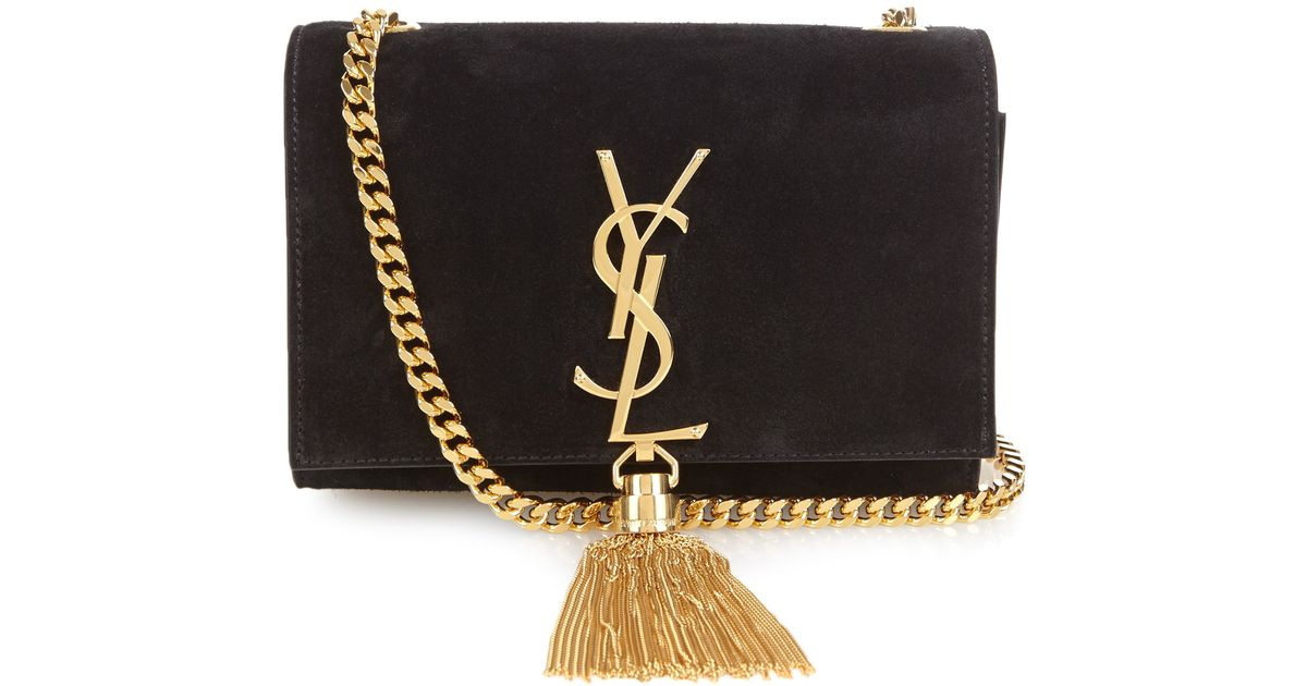375233e0536 Saint Laurent Cassandre Monogram Small Suede Cross-body Bag in Metallic -  Lyst