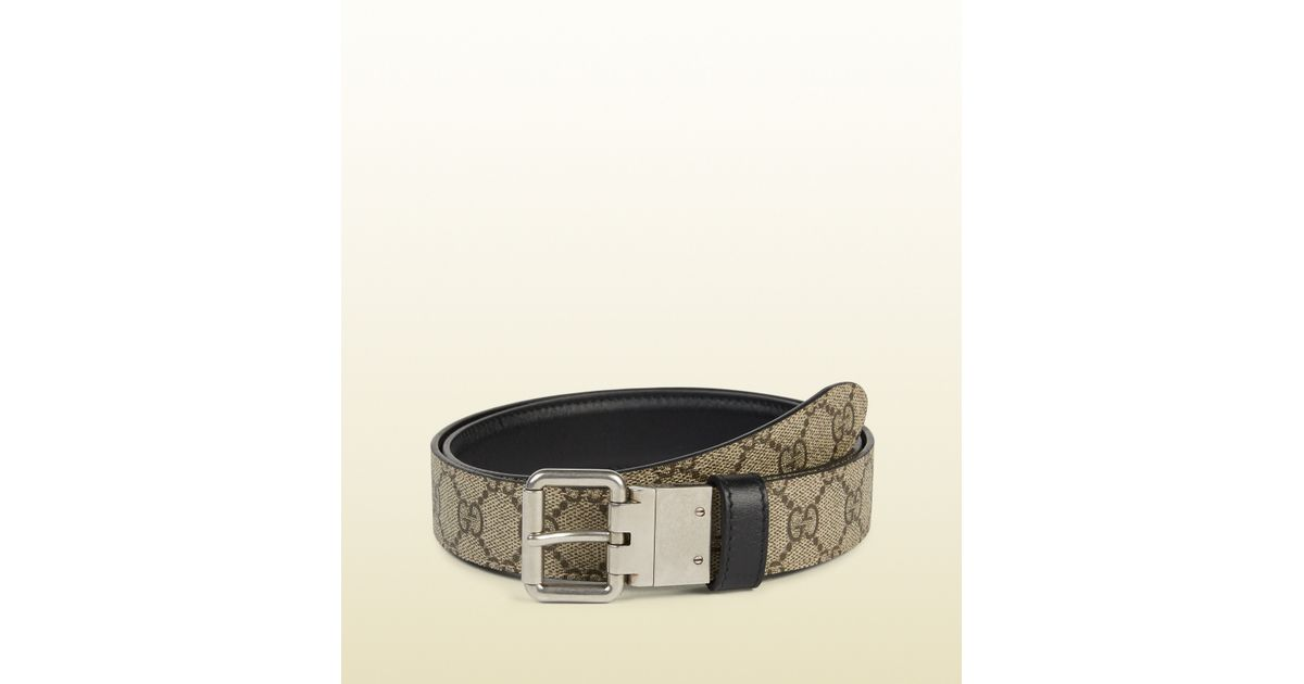 239409fbd Gucci Reversible Leather And Gg Supreme Belt in Black for Men - Lyst