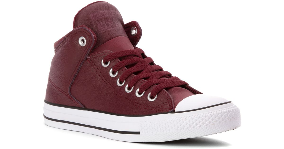 1fea46fe9 Lyst - Converse Chuck Taylor All Star Hi Street Leather in Red for Men