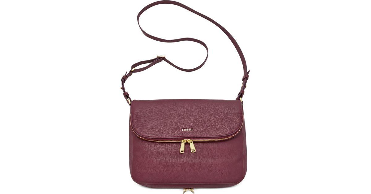 3e9ff1406 Fossil Preston Leather Flap Shoulder Bag in Purple - Lyst