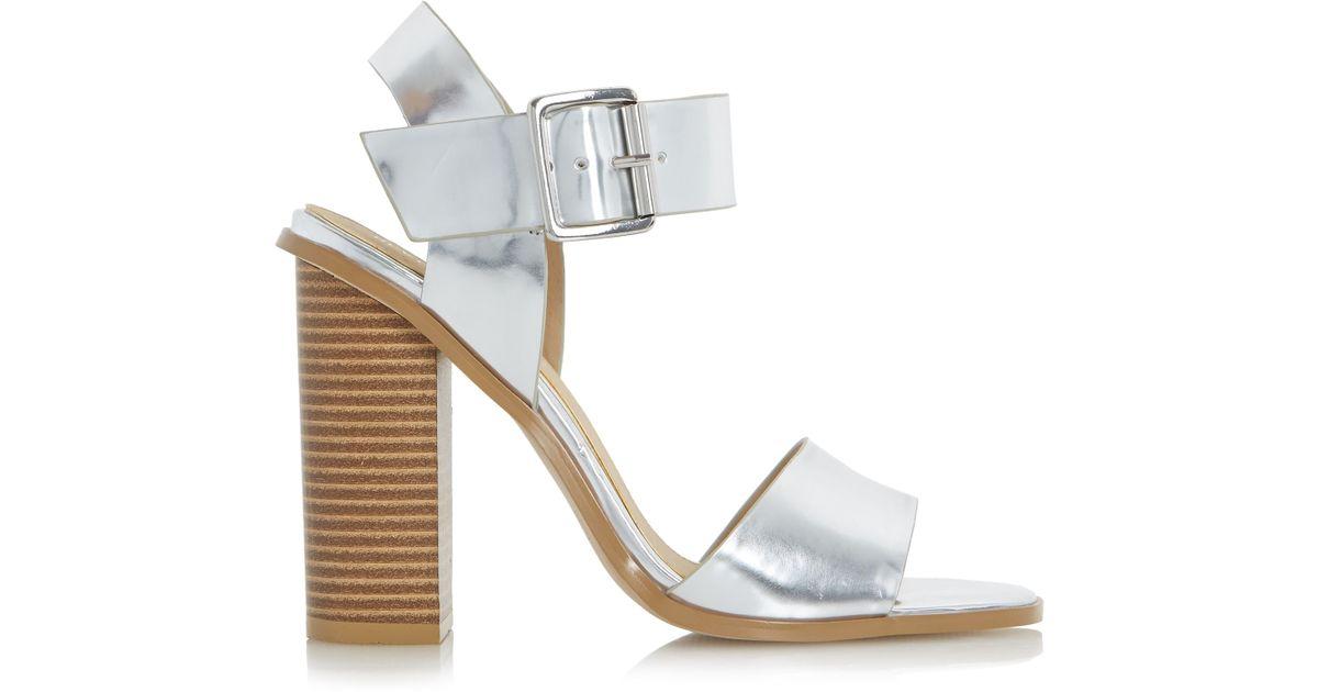 77baa49e8cb Dune Ilana Chunky Block Heel Sandals in Metallic - Lyst