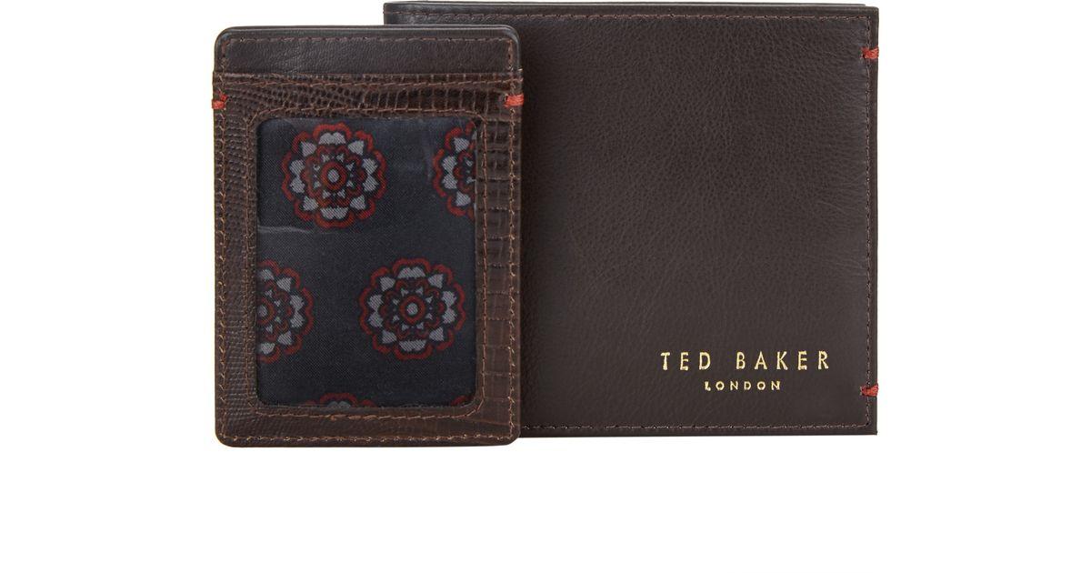 01b78e0406c Ted Baker Leather Wallet & Patterned Card Holder Gift Set in Brown for Men  - Lyst