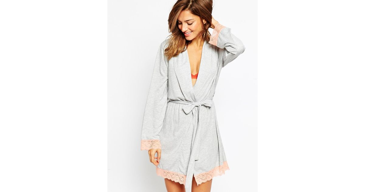 a4f867a7b77 ASOS Lace Trim Long Sleeve Jersey Robe in Pink - Lyst