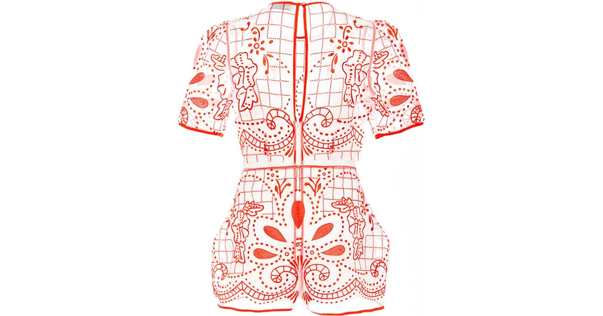 60a185d888 Lyst - Alice McCALL Space Is The Only Noise Lace Playsuit in Red
