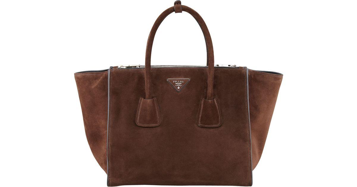 f207ffdc116 Lyst - Prada Suede Twin Pocket Tote Bag in Brown