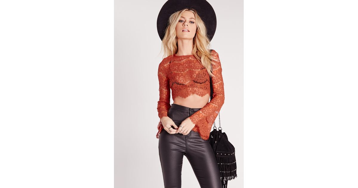 14d52f81694459 Lyst - Missguided Lace Bell Sleeve Crop Top Rust