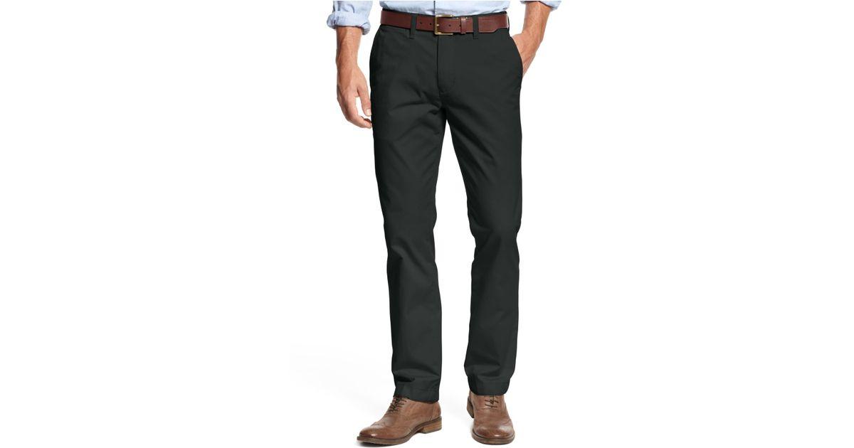 tommy hilfiger slim fit chino pants in black for men. Black Bedroom Furniture Sets. Home Design Ideas