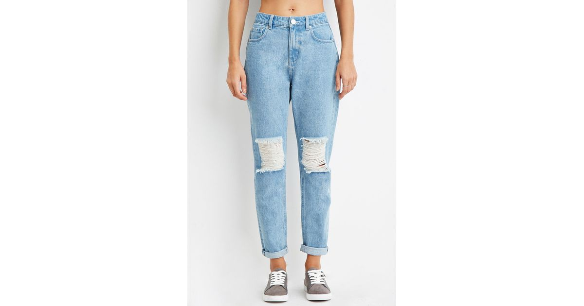 df6595eb4d93 Lyst – Forever 21 Contemporary Life In Progress High-waisted Ripped Jeans  in Blue