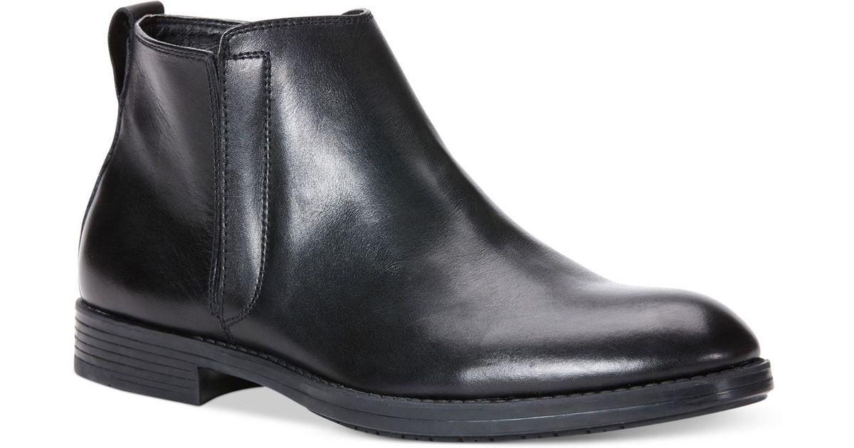 calvin klein harding leather boots in black for lyst
