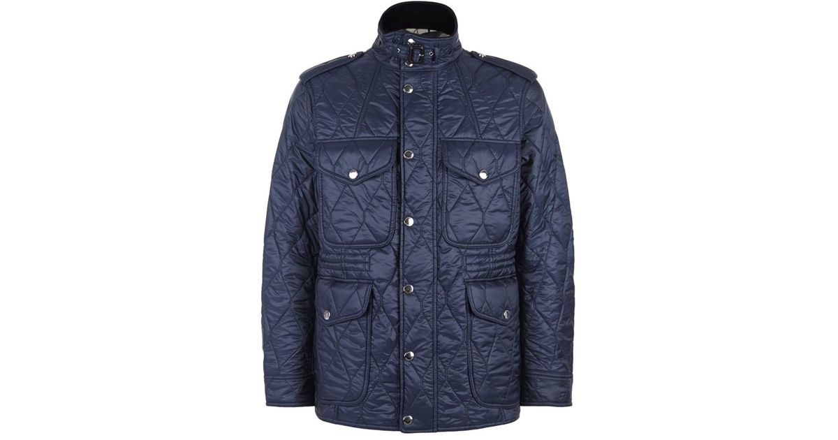 Burberry Quilted Field Jacket In Blue For Men Lyst
