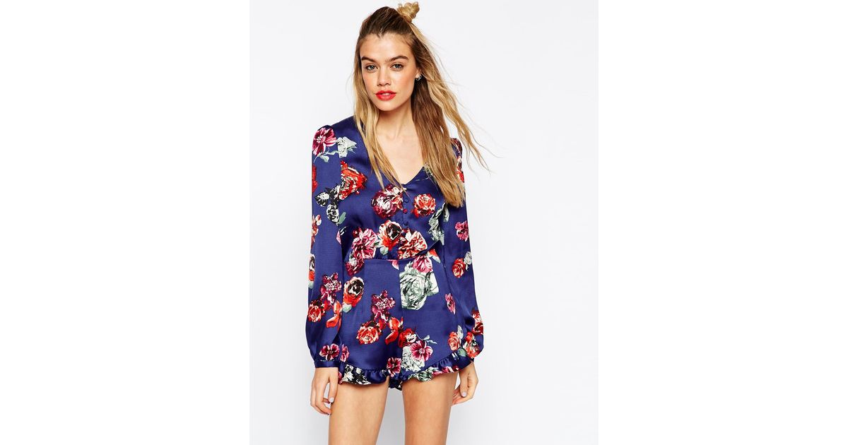 4758525c917 Lyst - ASOS Playsuit In Floral Print With Frill Hem in Blue
